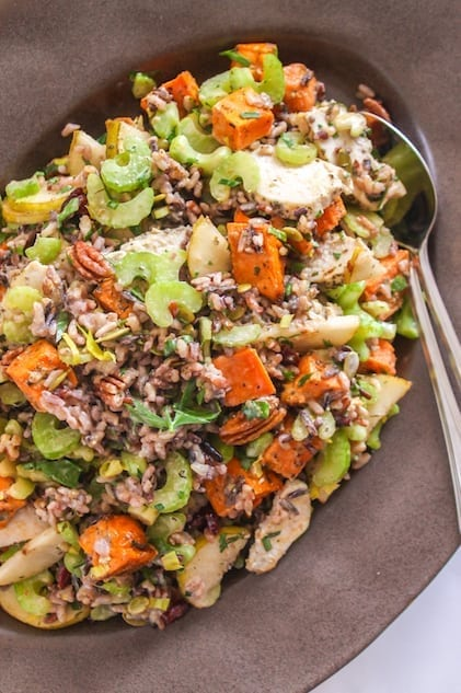 Pear and Pecan Wild Rice Salad - Eat Spin Run Repeat