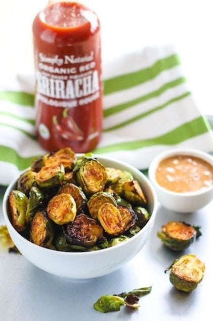 Spicy Sriracha Brussels Sprouts with Almond Butter Dip - Eat Spin Run Repeat