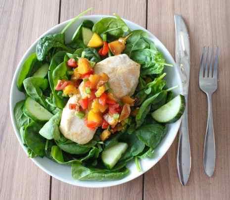 mango nectarine salsa on baked chicken