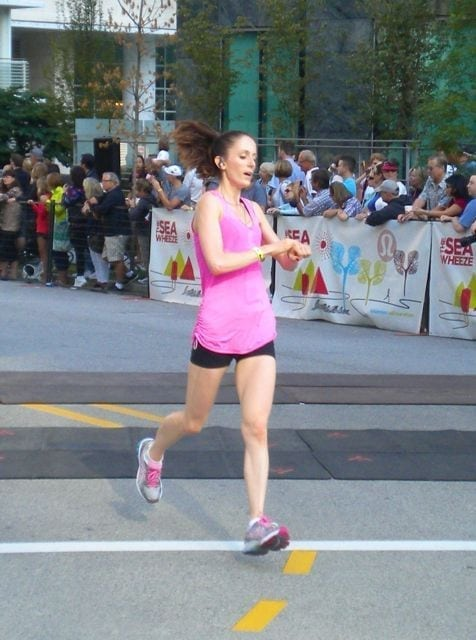 Crossing the finish line at SeaWheeze