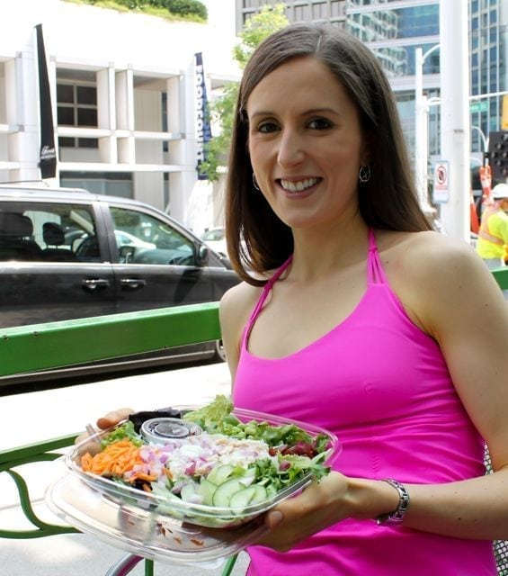 Enjoying a Freshii salad