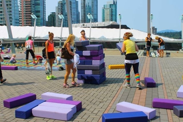 life-size Jenga at SeaWheeze