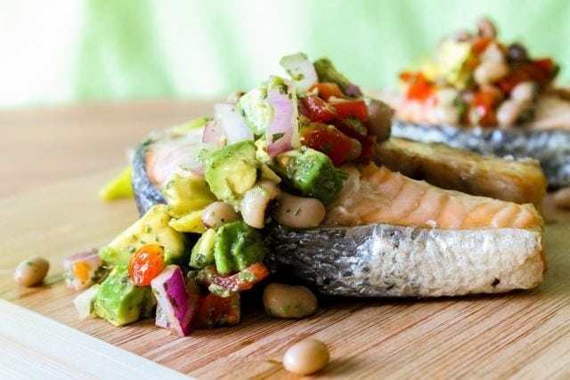 salmon with bean and avocado salsa