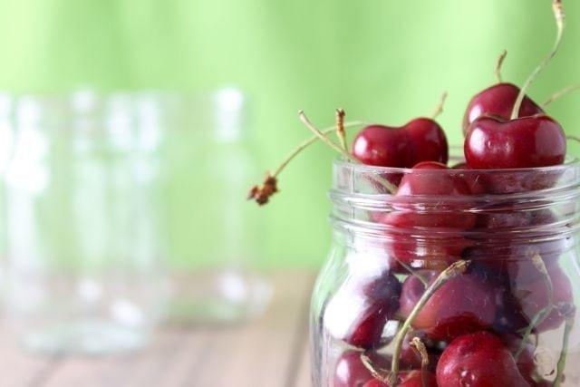 cherries in a mason jar