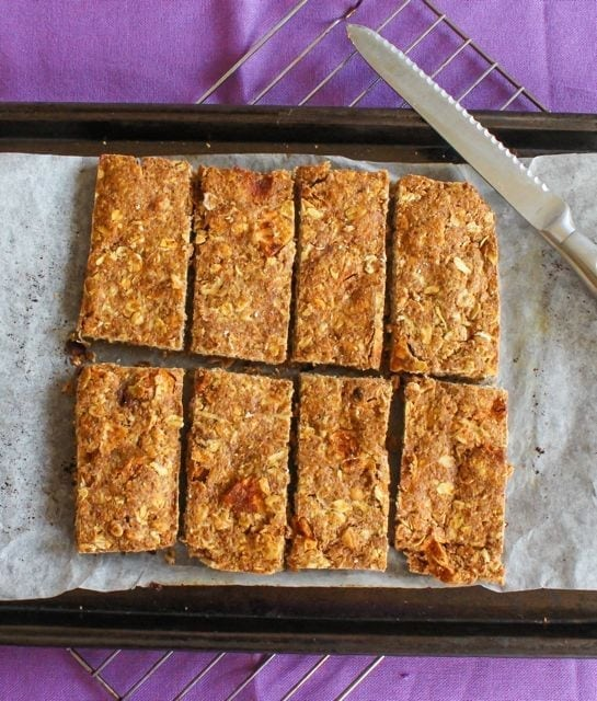 Apple Cinnamon Breakfast bars on cookie sheet