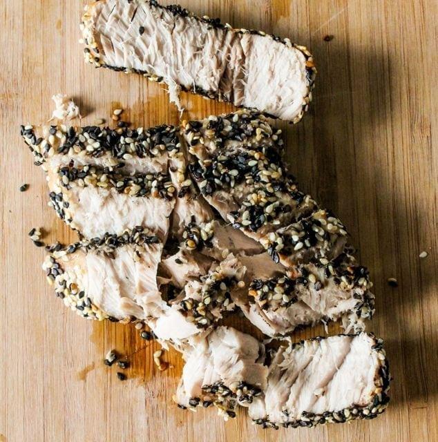 sliced sesame seed crusted tuna