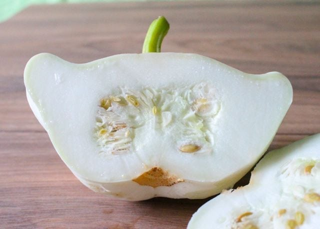 Patty Pan Squash with seeds inside