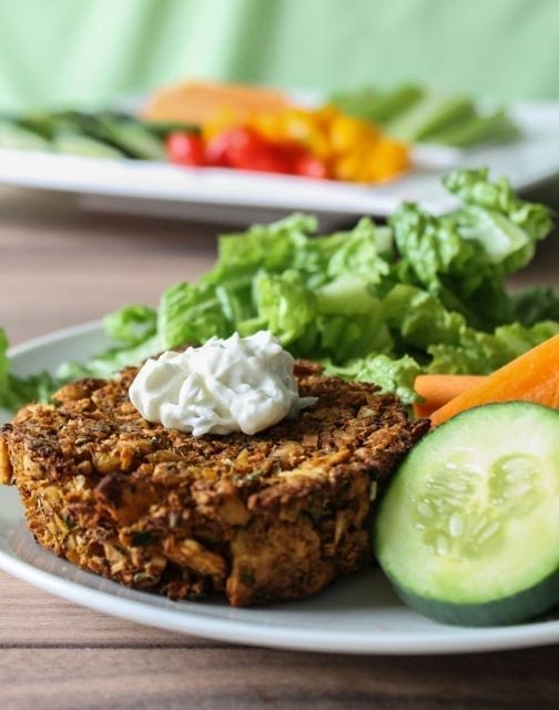 Veggie burgers with greens and veggies