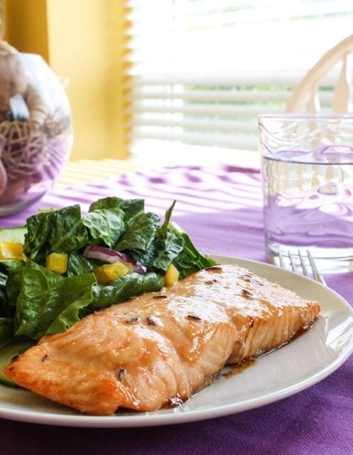 Lavender and balsamic glazed salmon