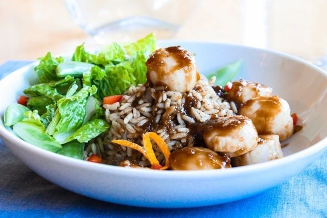 Citrus Soy Scallops with Cumin Scented Rice