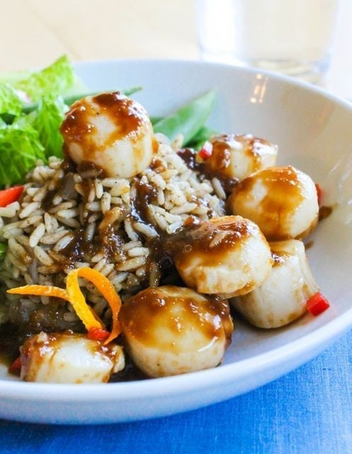 Citrus Soy Scallops with Cumin Scented Rice from Eat Spin Run Repeat