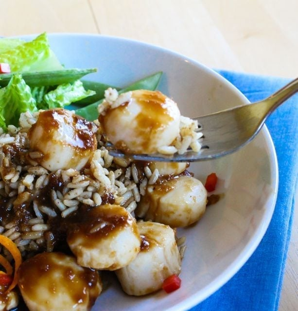Citrus Soy Scallops with Cumin-Scented Rice from Eat Spin Run Repeat