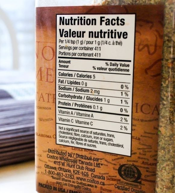 Kirkland Organic No-Salt Seasoning label