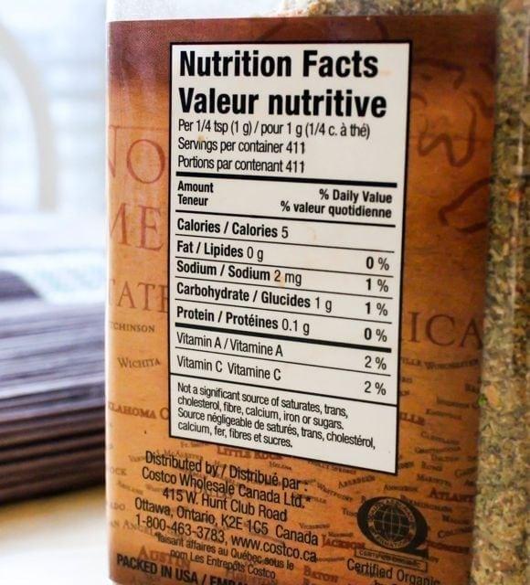 Kirkland Organic No-Salt Seasoning label