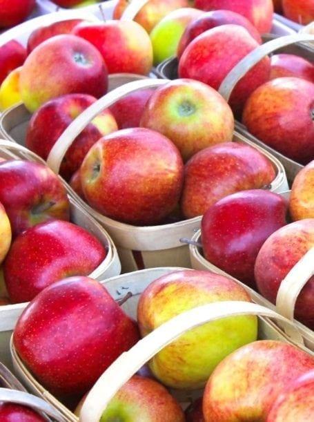 apples in baskets