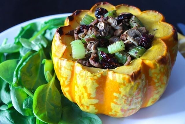 Turkey and Mushroom Stuffed Buttercup Squash