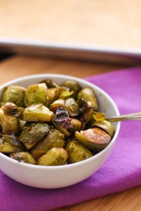 Maple Balsamic Roasted Brussels Sprouts - Eat Spin Run Repeat