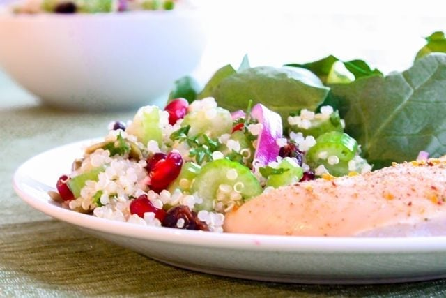 Ruby Studded Holiday Quinoa from Eat Spin Run Repeat