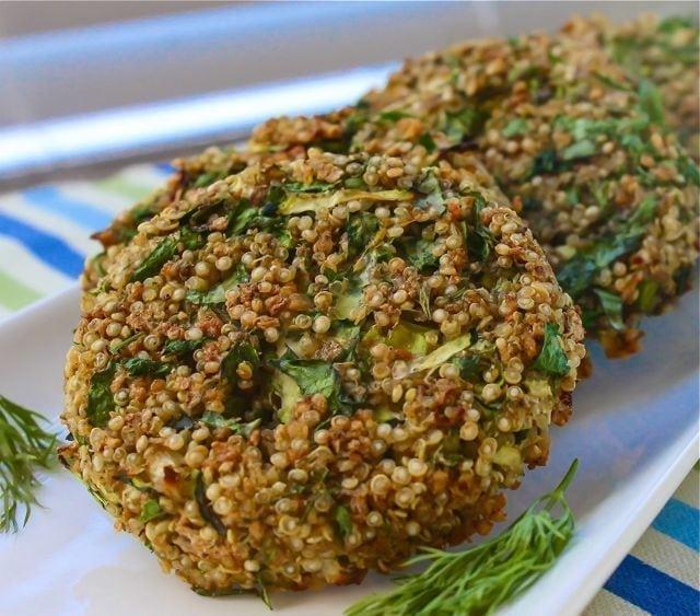 herb quinoa patties with lemon dill sauce