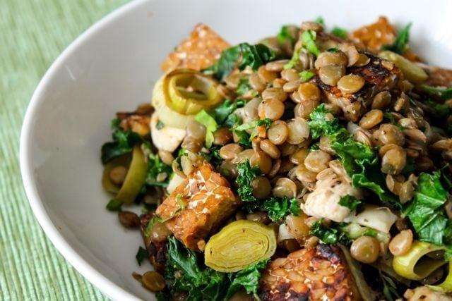 vegan gluten-free healthy lentil kale and tempeh saute