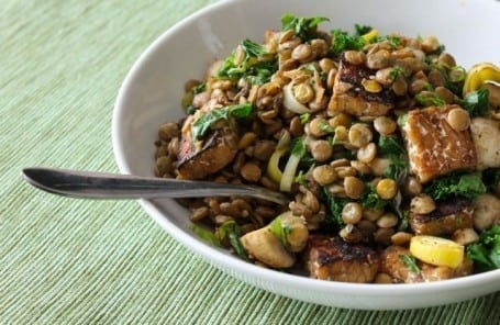 lentil kale and tempeh saute