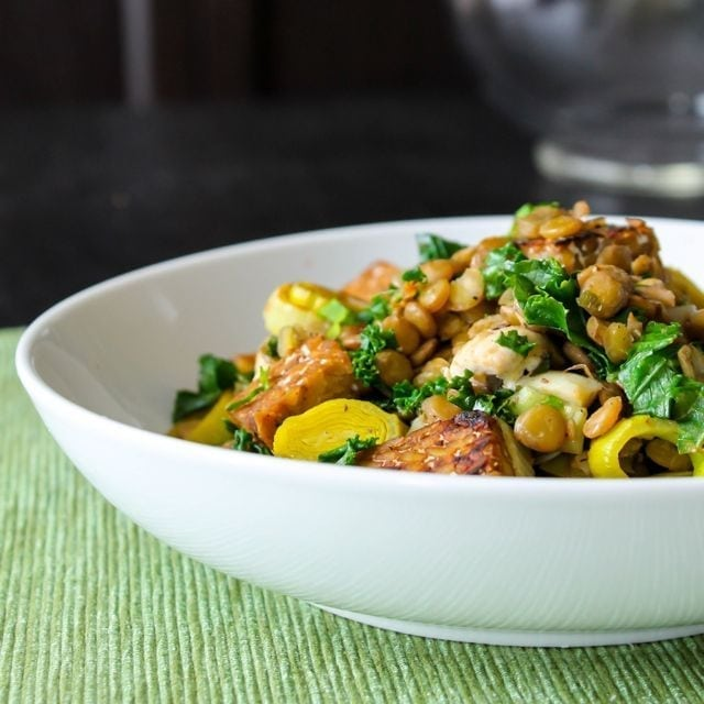 lentil kale and tempeh saute