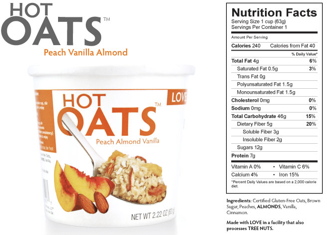 peach almond vanilla hot oats