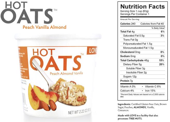 peach almond vanilla hot oats