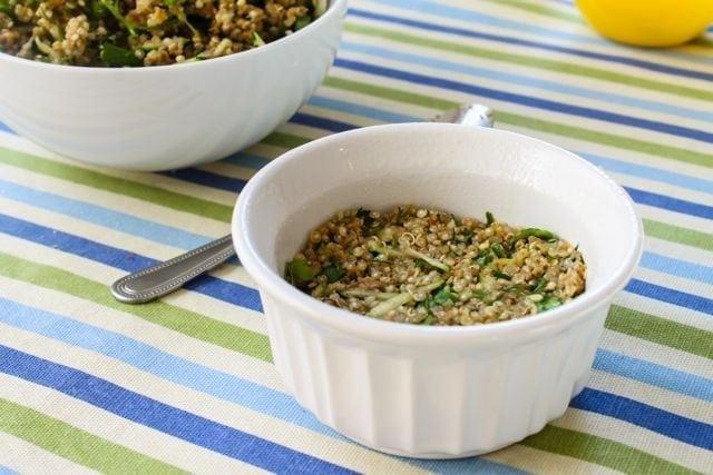quinoa cake in ramekin