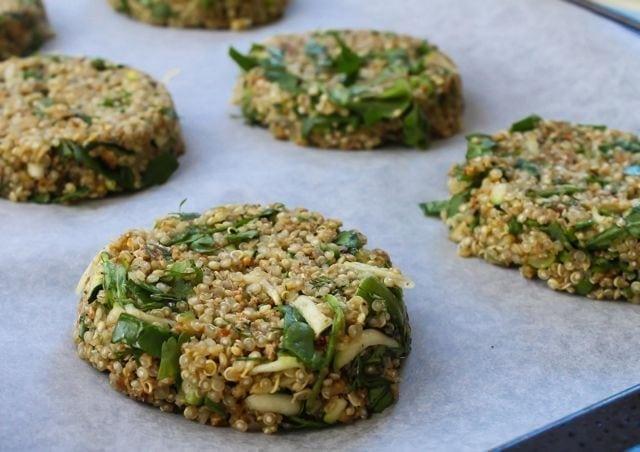 quinoa patties on baking sheet