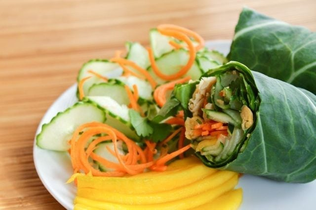 Thai Chickpea Collard Wraps with Peanut Sauce