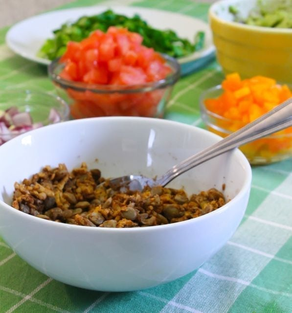 Grated tempeh and lentils