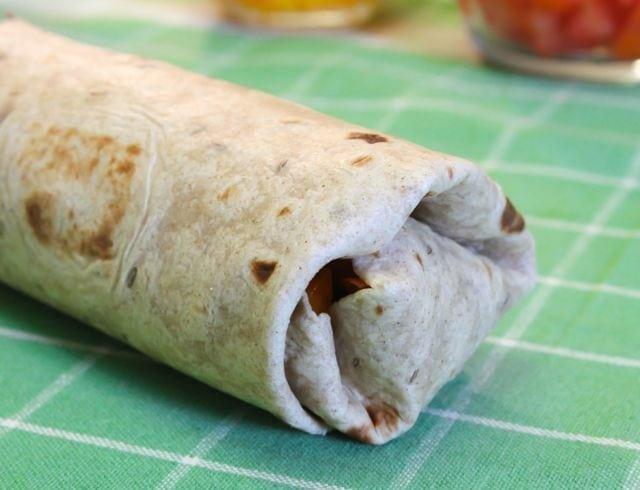 Vegan Fiesta Wraps - rolled up tortilla