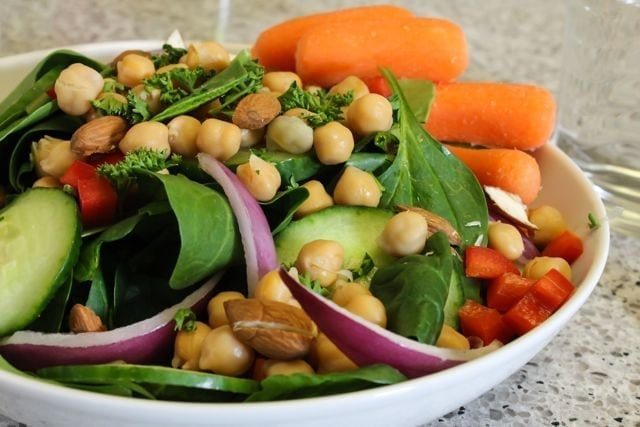 lunch salad with chickpeas, almonds and veggies