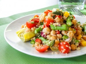 zesty pesto quinoa salad