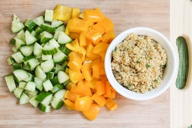 cucumbers peppers and quinoa