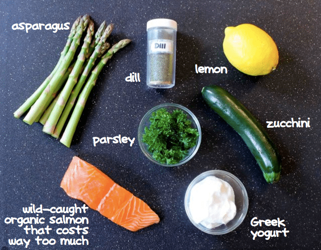 ingredients for baked salmon with creamy lemon dill pasta