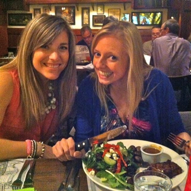 Jess and Robyn, REALLY excited to have their steak!