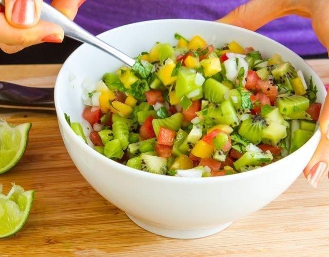 mixing salsa