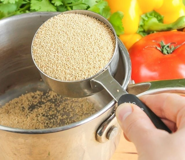 pouring amaranth into pot