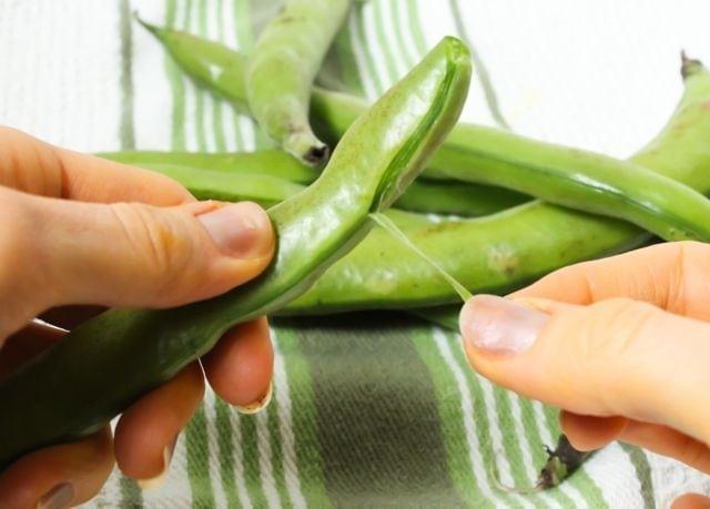 shelling fava beans