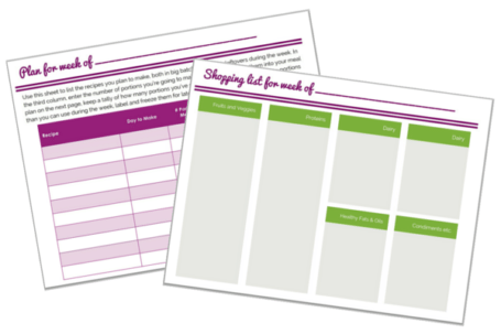 Sample Meal Planning Pages