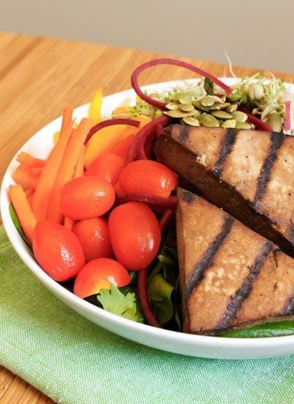 Veggie Goddess Bowl with Grilled Tofu Steaks
