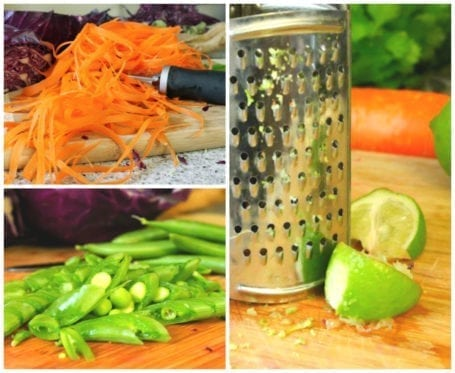 carrots peas and lime zest