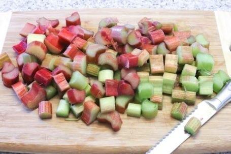 chopped raw rhubarb