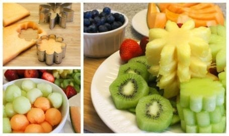 fruit cut into flowers for fruit bouquet