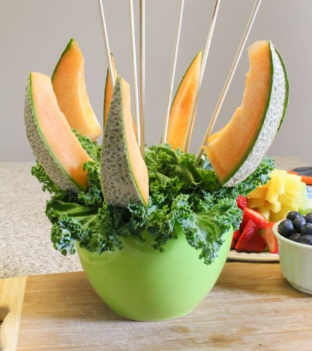 kale added to fruit bouquet
