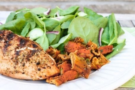 lobster mushrooms with grilled chicken and spinach salad