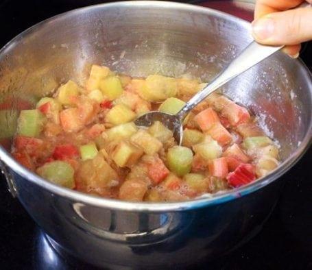 making rhubarb puree