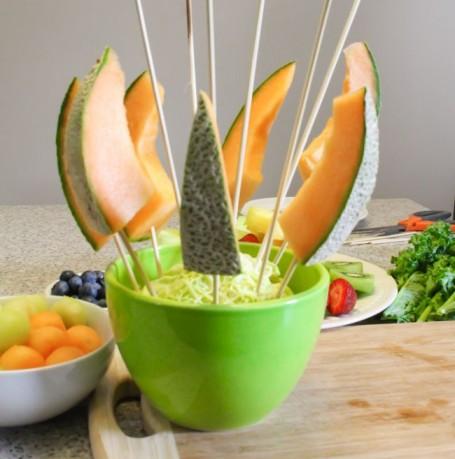 melon skewers in fruit bouquet